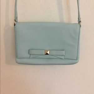 Light blue Kate Spade crossbody with silver detail